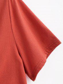 Con o Dobladillo Camiseta Casta L Anudado Rojo a0F0wqf