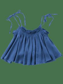Oscuro Top M Deshilachado Azul De Cami Denim nzU0S8tqtw