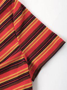Cortos A Rayas De Pantalones Conjunto Pliegues De Rojo S TqE6S6