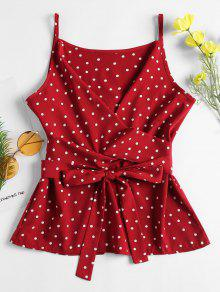 Polka Wrap Tie Cami Top Dot Rojo 5wqvwprTn