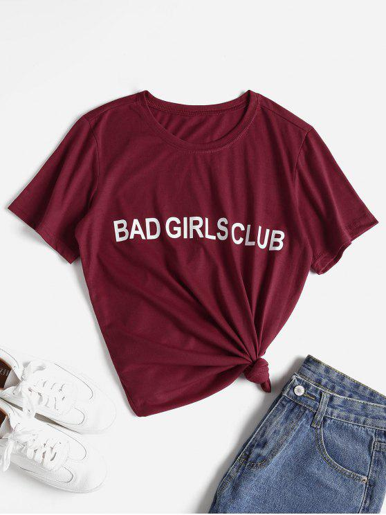 chic Letter Graphic Slogan Tee - RED L