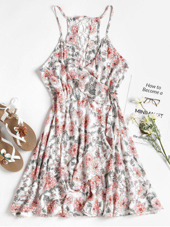 Blumen Rüschen Faux Wickel Sonnen Kleid - Weiß L