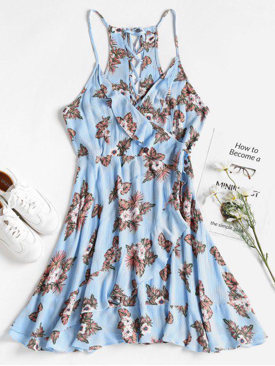 فستان بنمط لف من الورود - ضوء السماء الزرقاء S