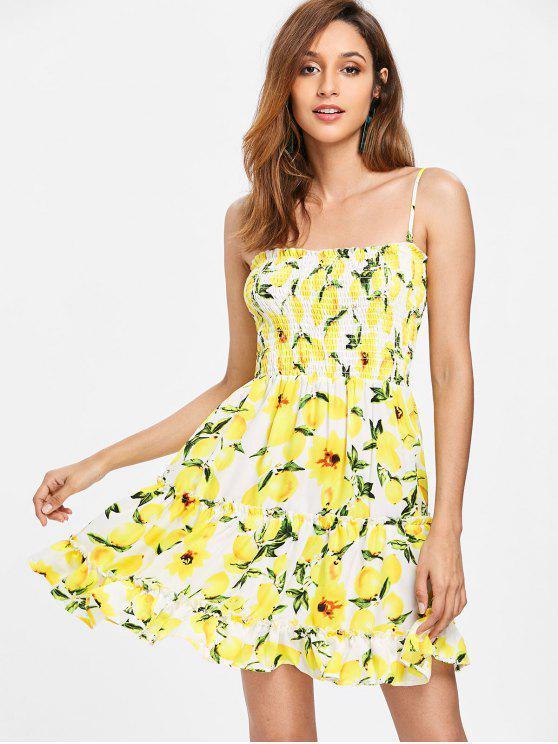 Smocked Lemons Slip Dress - Amarelo L