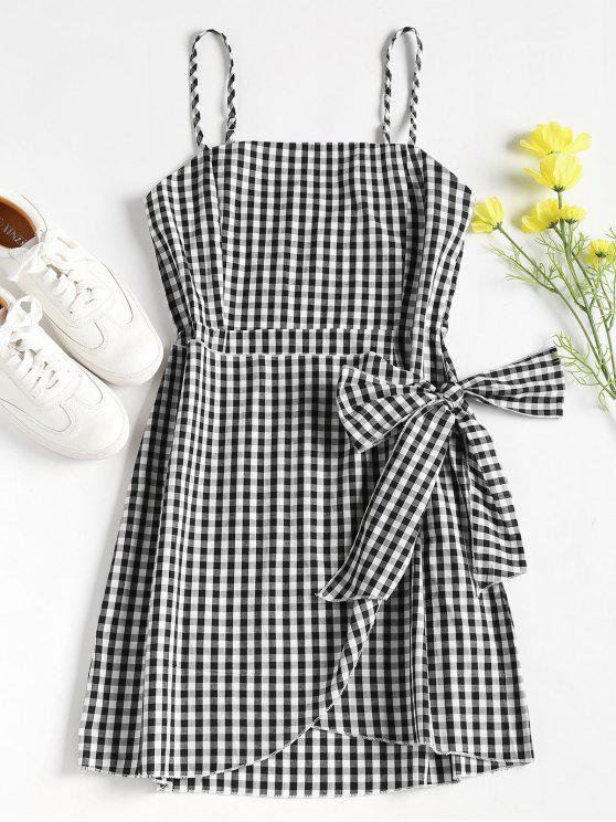 fancy Overlap Gingham Slip Dress - BLACK M