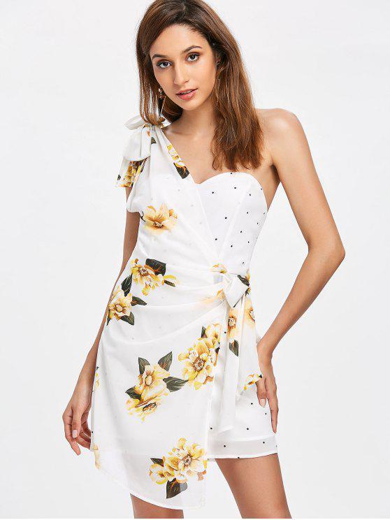 trendy Floral Dotted One Shoulder Dress - MILK WHITE M
