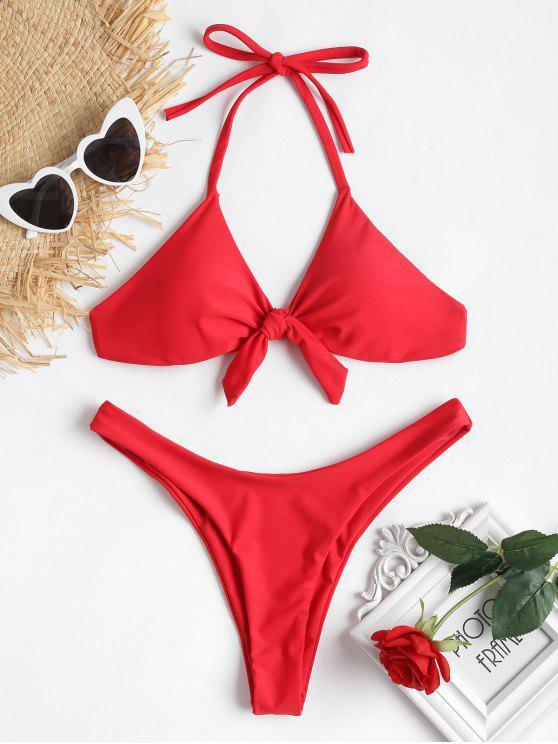 Bowknot Halter Bikini de pierna alta - Amo Rojo M