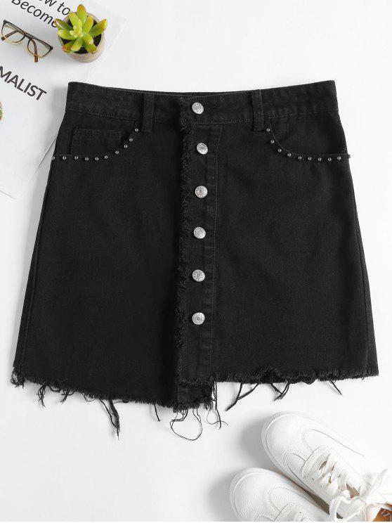 Botão assimétrico para cima saia jeans - Preto XL