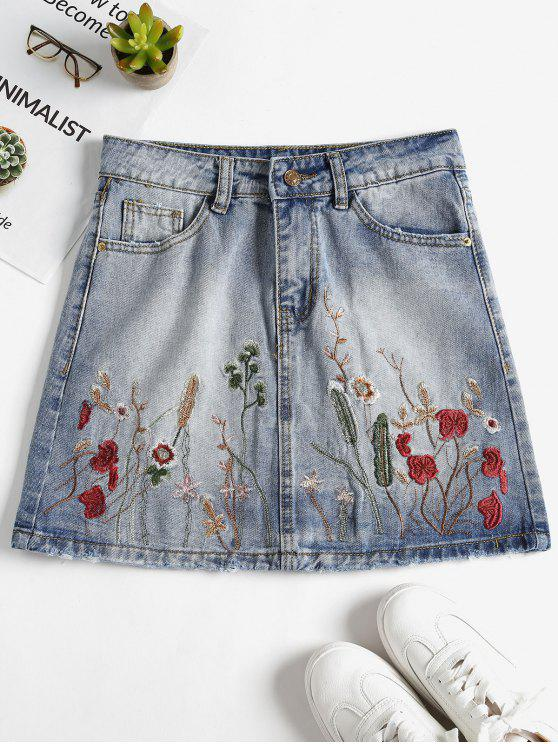 Saia mini floral bordada sarja de Nimes - Jeans Azul XL