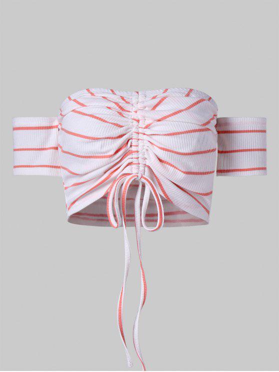 Top corto de punto a rayas con hombros descubiertos - Blanco XL