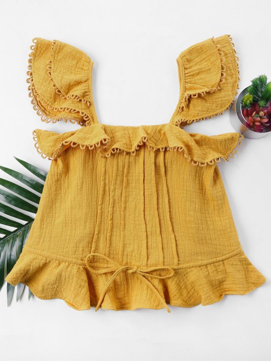 affordable Ruffles Sleeveless Blouse - BEE YELLOW M