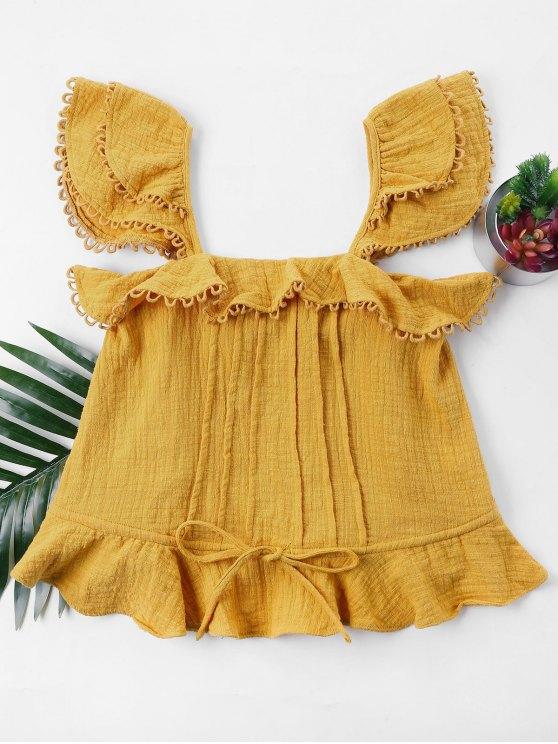 Blusa sin mangas con volantes - Amarilla de Abeja  XL