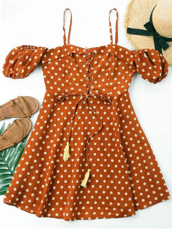 shop Polka Dot Lace Up Dress - CHESTNUT RED M