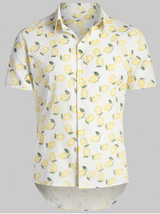 Estampado de limón Hawaii Beach Shirt - Blanco Cálido M