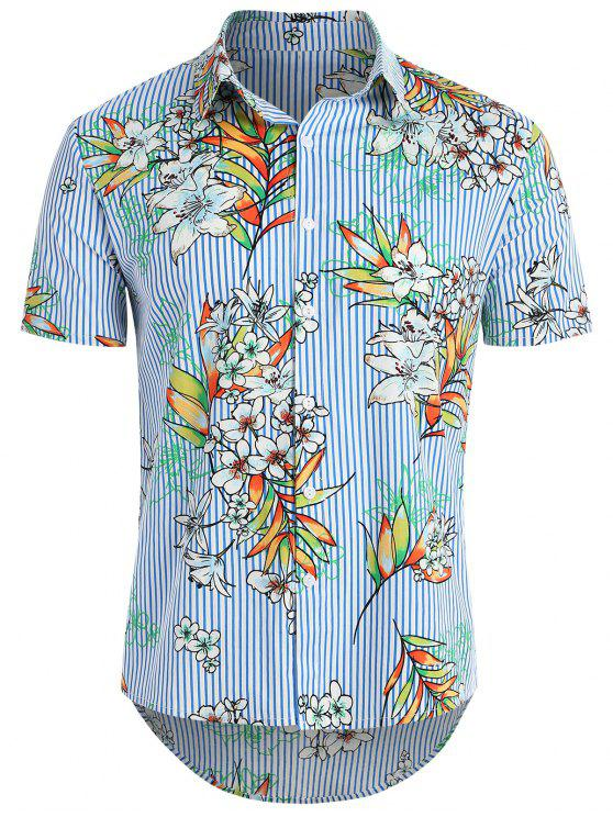 Chemise de Plage Rayée Hawaï avec Fleur - Bleu Océan 2XL