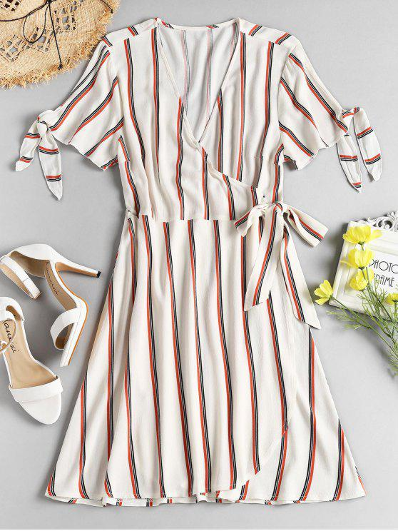 outfit Striped Tie Sleeve Wrap Dress - WARM WHITE L