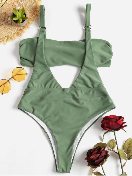 Costume Da Bagno A Due Pezzi A Fascia Imbottito - Verde del Mare Nero S