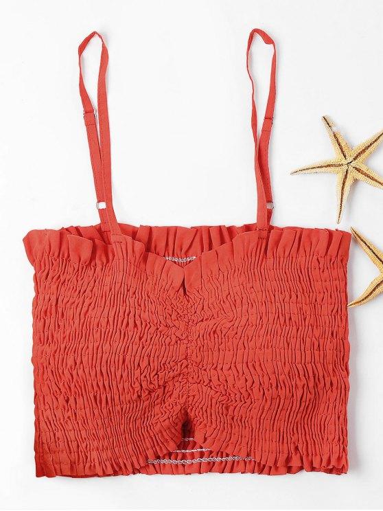 Cami Smocked Crop Top - Kastanie Rot XL