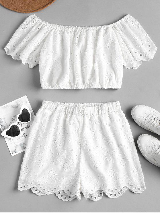 outfit Off Shoulder Eyelet Shorts Set - WHITE L