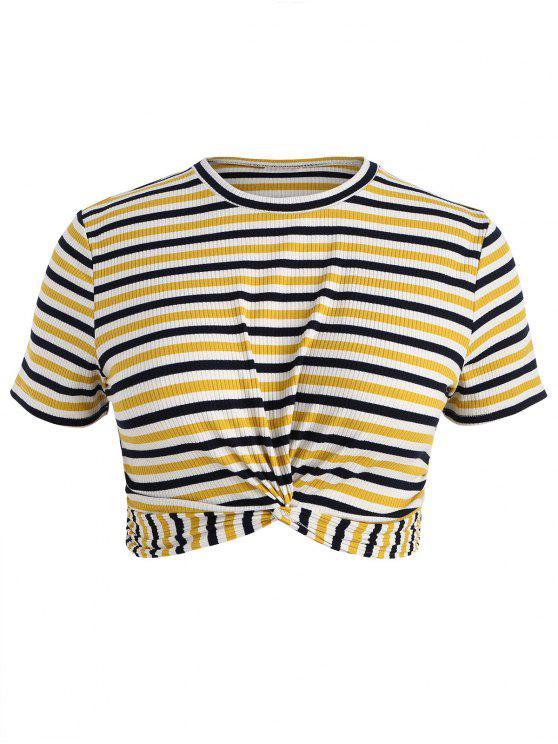 Camiseta de rayas con cuello redondo - Multicolor 2X