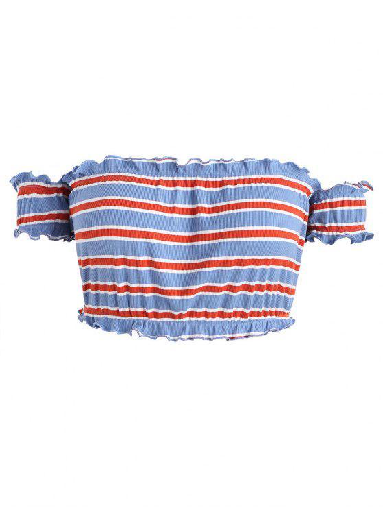 Camiseta con rayas de lechuga Plus Size - Multicolor 4X