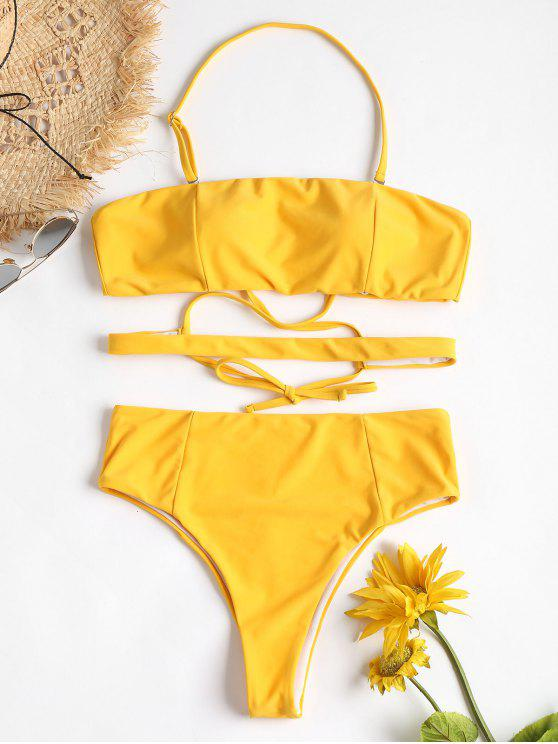 unique High Leg Cross Halter Bikini - BRIGHT YELLOW M