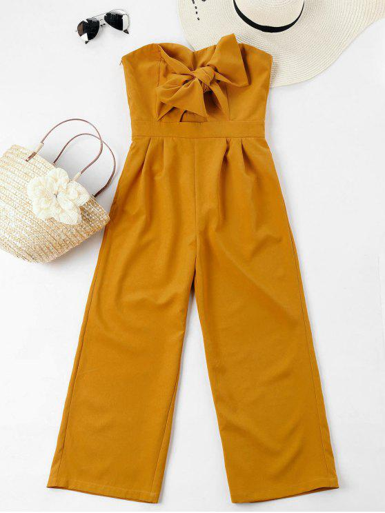 new Bowknot Tube High Waisted Jumpsuit - MUSTARD L