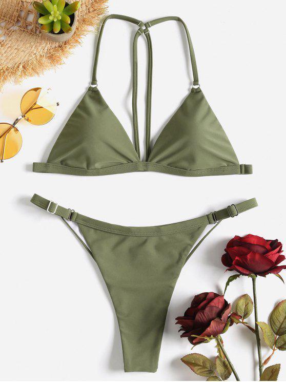 Riemchen Rücken String Bikini Set - Tarnanstrich Grün M