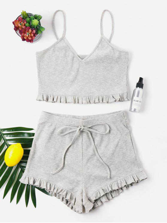 Knit Folho Trims Cami Shorts Set - Cinza claro XL