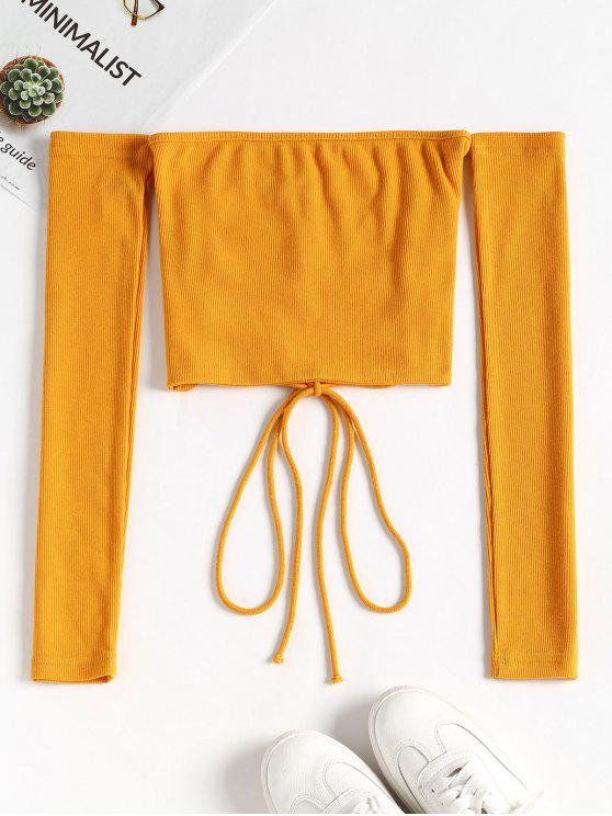 chic Lace Up Off Shoulder Top - BRIGHT YELLOW S