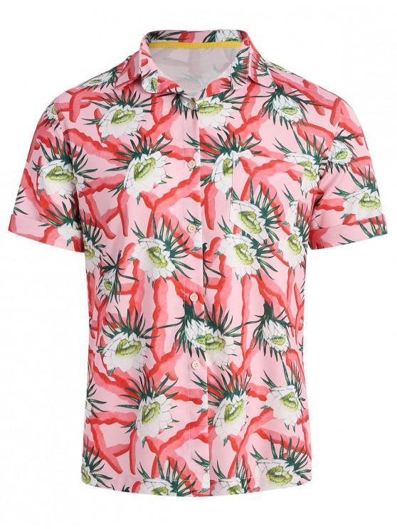 Camisa havaiana de estampa floral de verão - Motor de Incêndio Vermelho 2XL