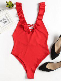 Lattice Ruffled Bodysuit - Red M