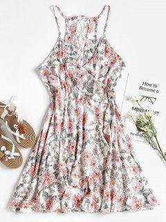 Floral Ruffle Faux Wrap Sun Dress - White L