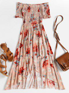 Smocked Floral Off The Shoulder Midi Dress - Rose M
