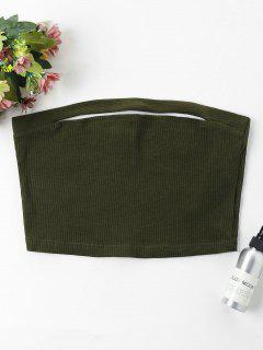 Ribbed Tube Crop Top - Army Green L