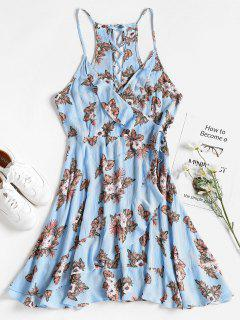 Ruffled Floral Faux Wrap Dress - Light Sky Blue M