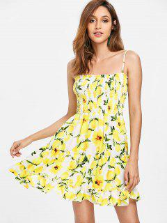 Smocked Lemons Slip Dress - Yellow S