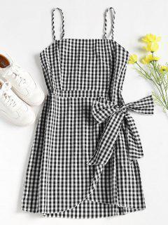 Overlap Gingham Slip Dress - Black M