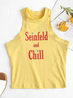 Letter Print Crop Tank Top - Yellow M