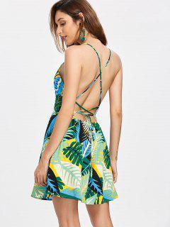 Backless Tropical Print Dress - Multi S