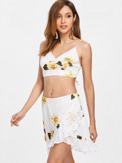 Polka Dot Floral Skirt Set - Milk White M