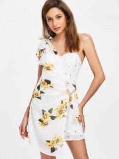 Floral Dotted One Shoulder Dress - Milk White L