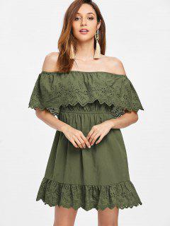 Off Shoulder Flounce Mini Dress - Army Green M