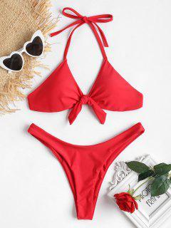 Bowknot Halter High Leg Bikini - Love Red M