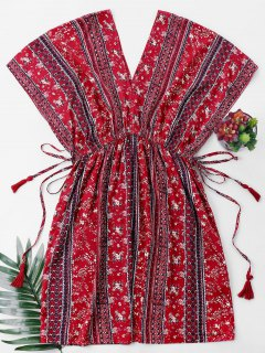 High Waist Printed Bohemian Dress - Red M