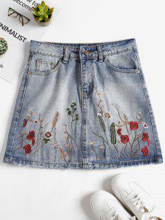 Minifalda Bordada Floral En Denim - Azul De Jeans  Xl