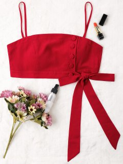 Buttoned Bowknot Cami Crop Top - Red M