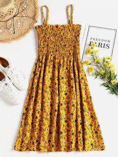 Robe D'été Smocké Floral à Bretelles - Moutarde  L