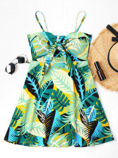 Knotted Tropical Print Cami Dress - Multi L