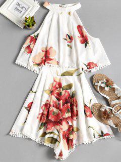 Sleeveless Overlay Floral Romper - White M